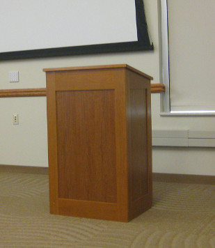 An empty podium, with no one speaking