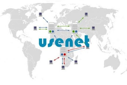 A representation of Usenet as a global network of servers and clients